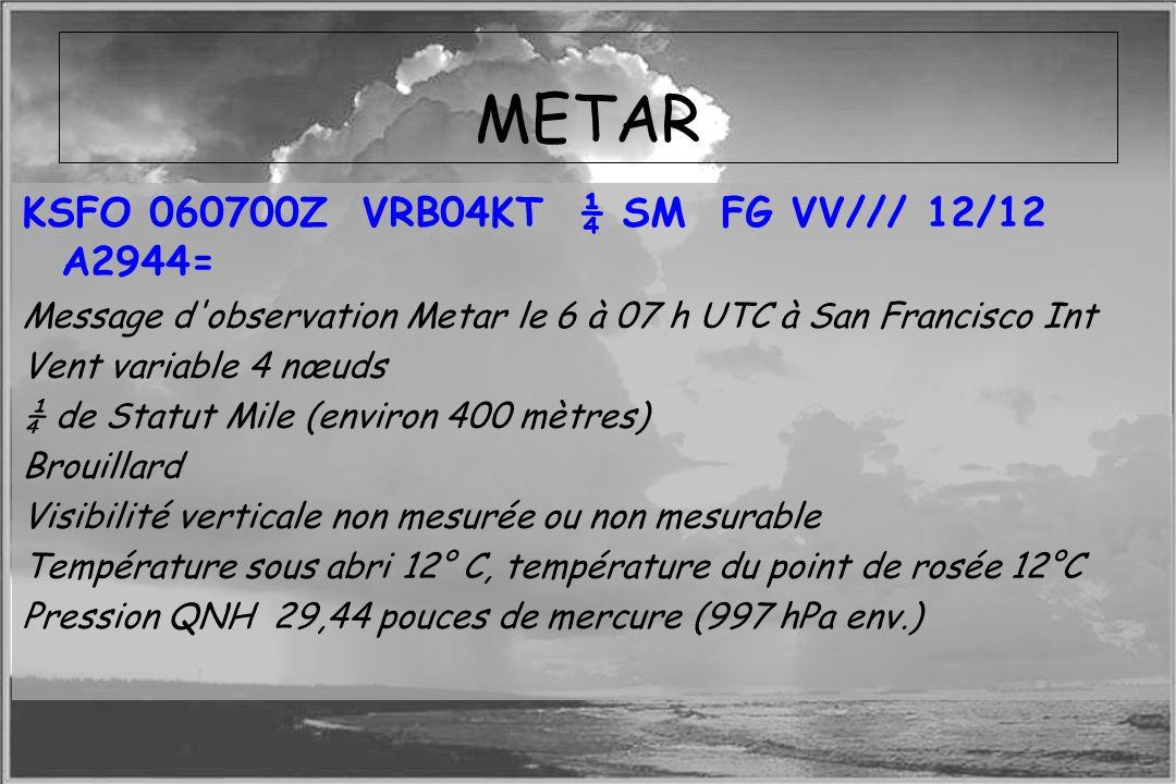METAR KSFO 060700Z VRB04KT ¼ SM FG VV/// 12/12 A2944=