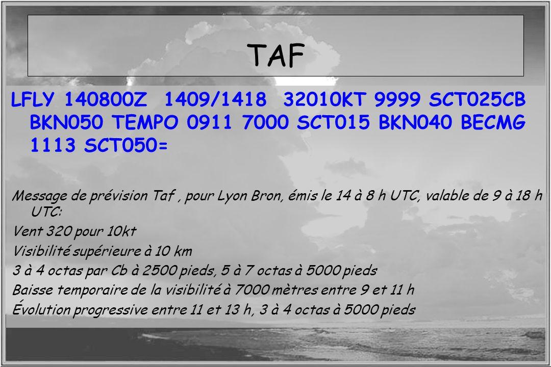 TAFLFLY 140800Z 1409/1418 32010KT 9999 SCT025CB BKN050 TEMPO 0911 7000 SCT015 BKN040 BECMG 1113 SCT050=