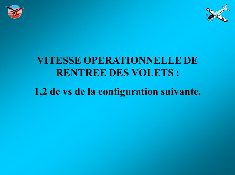 VITESSE OPERATIONNELLE DE RENTREE DES VOLETS :