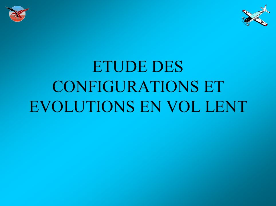 ETUDE DES CONFIGURATIONS ET EVOLUTIONS EN VOL LENT