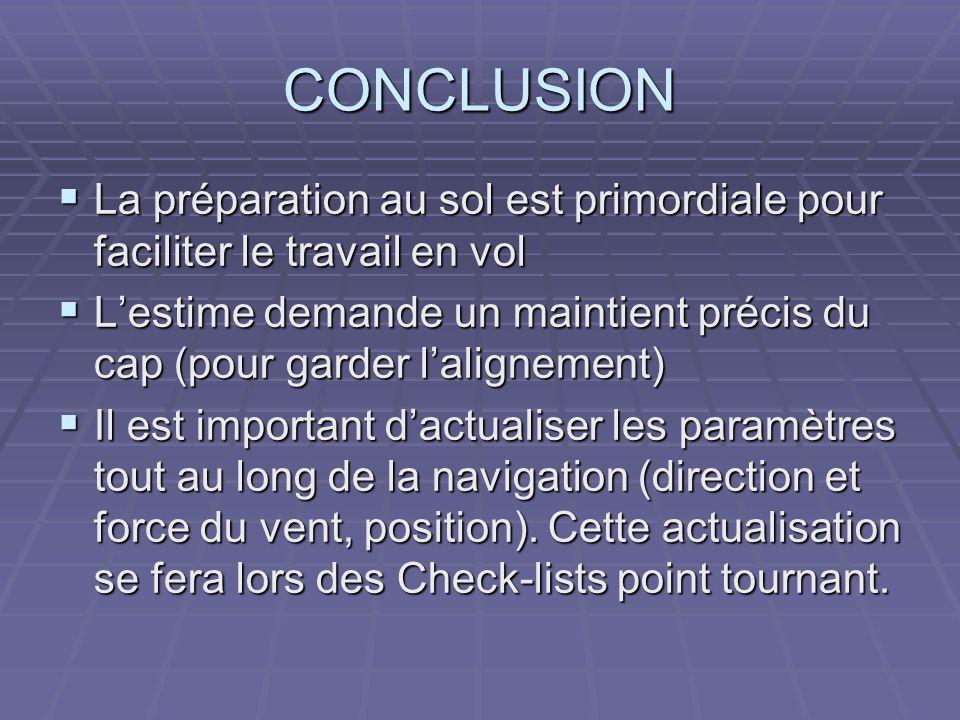 CONCLUSION La préparation au sol est primordiale pour faciliter le travail en vol.