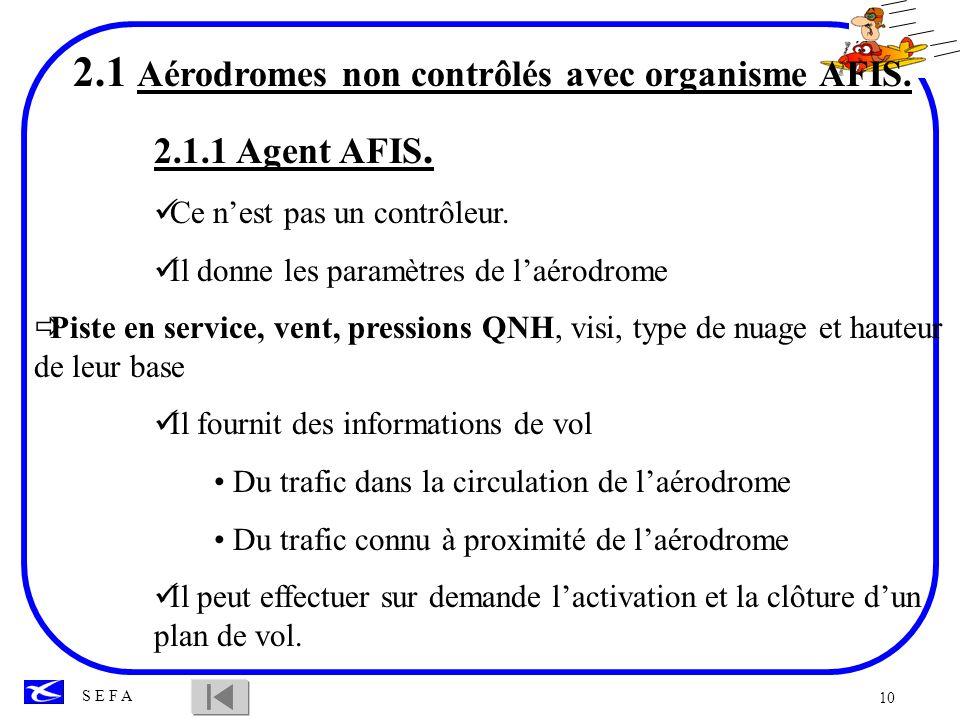 2.1 Aérodromes non contrôlés avec organisme AFIS.