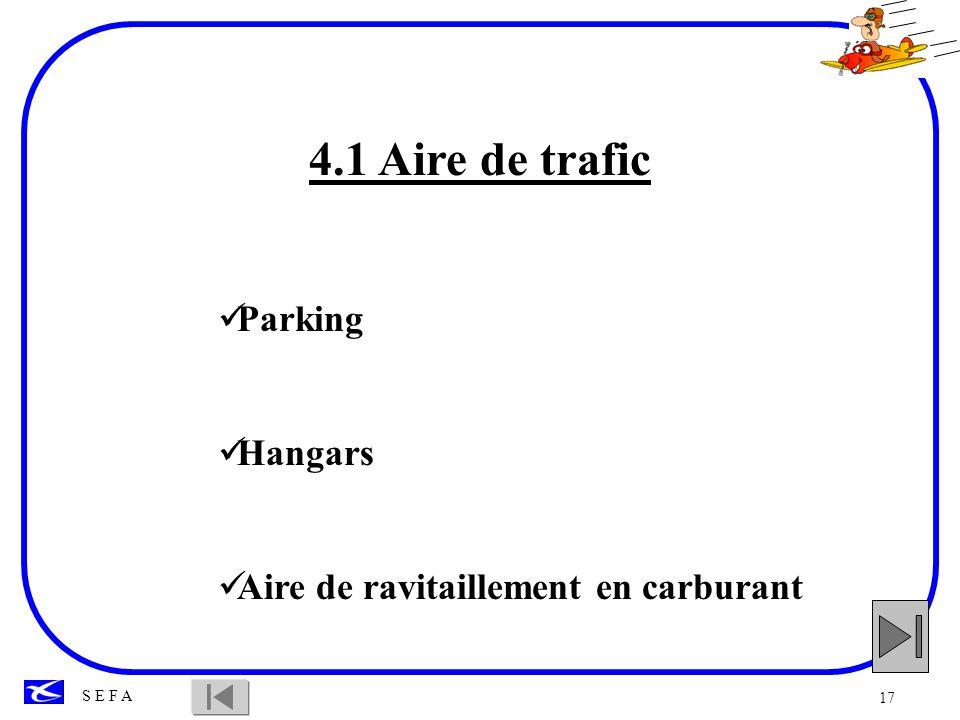 4.1 Aire de trafic Parking Hangars Aire de ravitaillement en carburant
