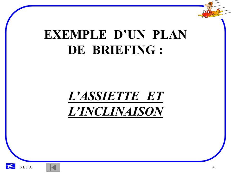 EXEMPLE D'UN PLAN DE BRIEFING : L'ASSIETTE ET L'INCLINAISON