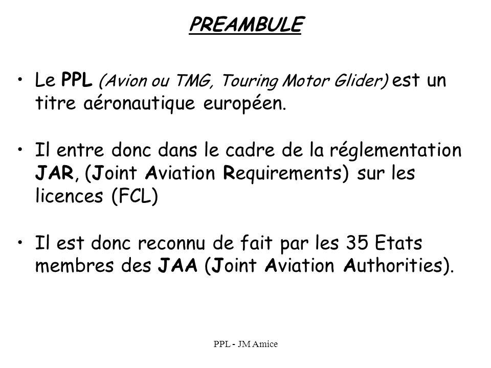 PREAMBULE Le PPL (Avion ou TMG, Touring Motor Glider) est un titre aéronautique européen.