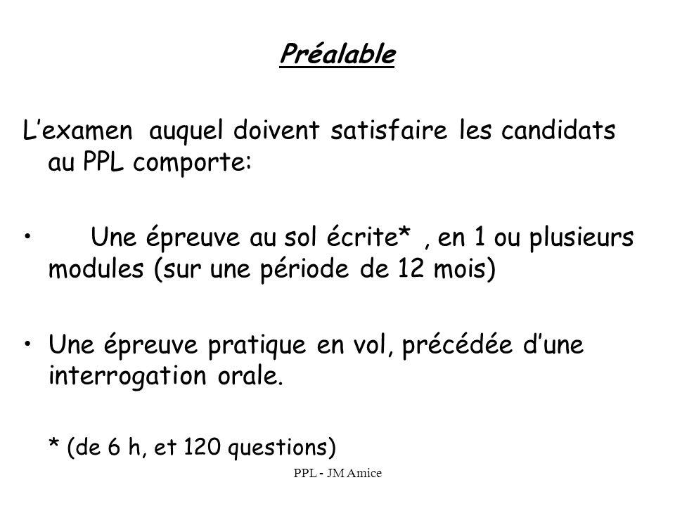 L'examen auquel doivent satisfaire les candidats au PPL comporte: