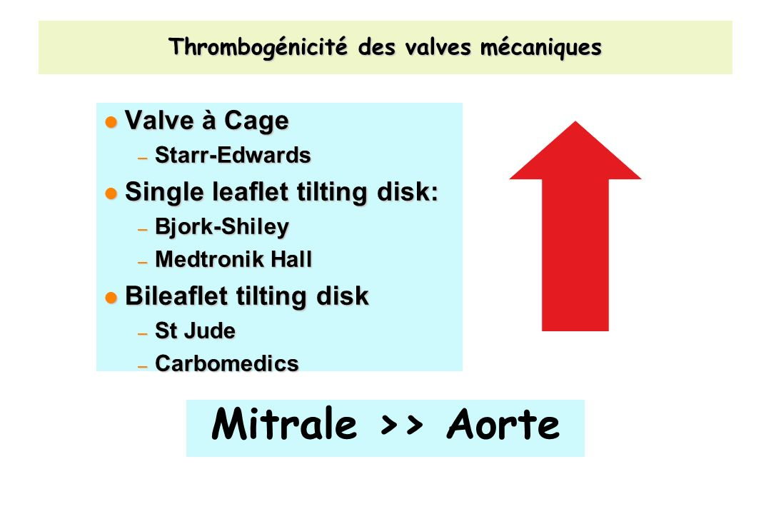 Thrombogénicité des valves mécaniques