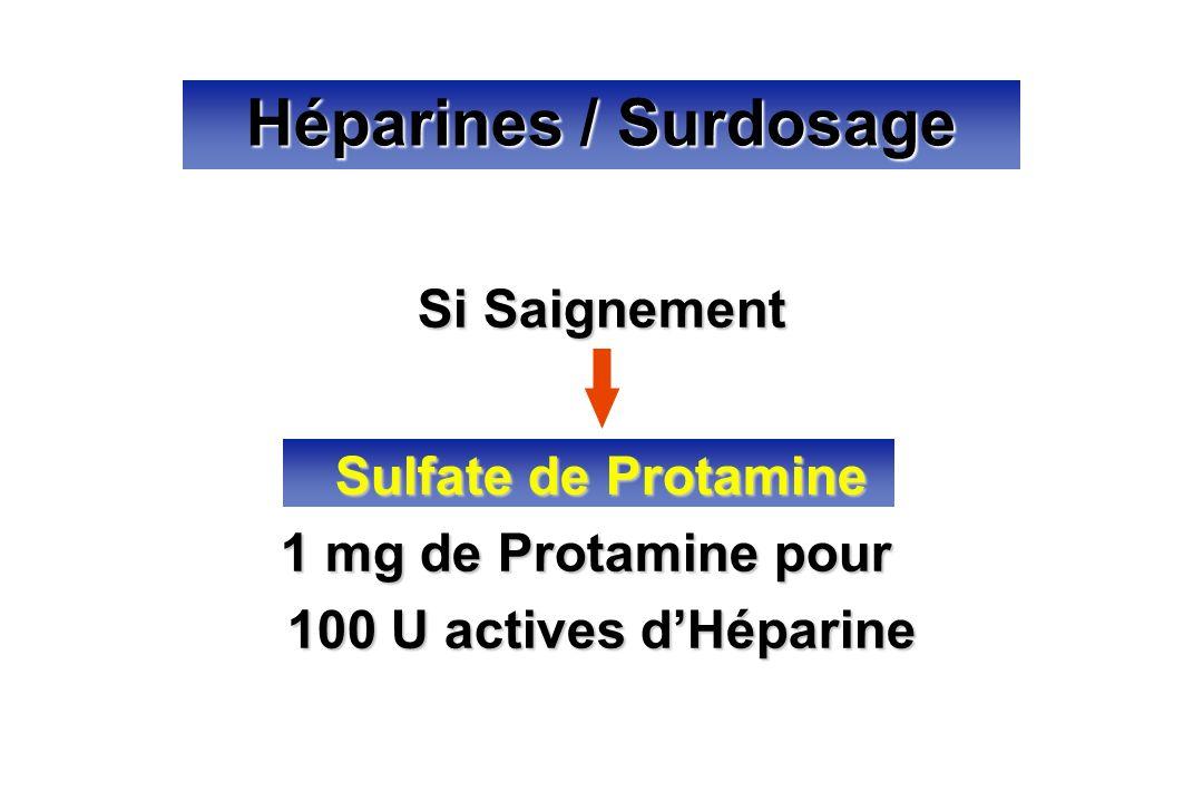 Héparines / Surdosage Si Saignement Sulfate de Protamine