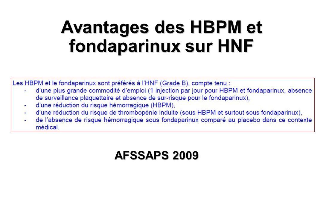 Avantages des HBPM et fondaparinux sur HNF