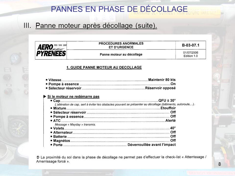 PANNES EN PHASE DE DÉCOLLAGE