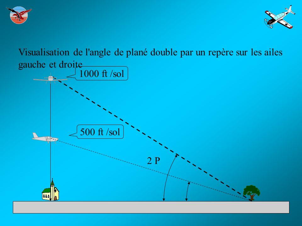 Visualisation de l angle de plané double par un repère sur les ailes gauche et droite