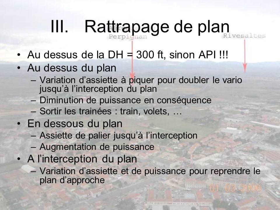 Rattrapage de plan Au dessus de la DH = 300 ft, sinon API !!!