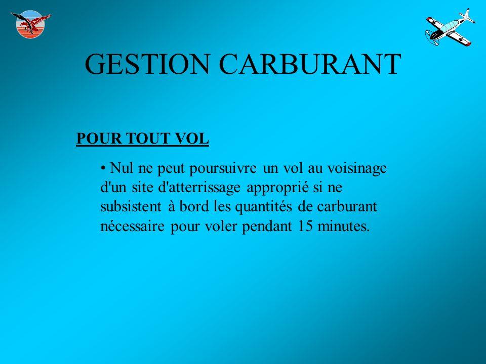GESTION CARBURANT POUR TOUT VOL