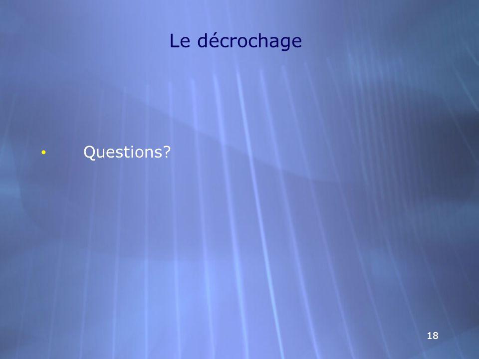 Le décrochage Questions