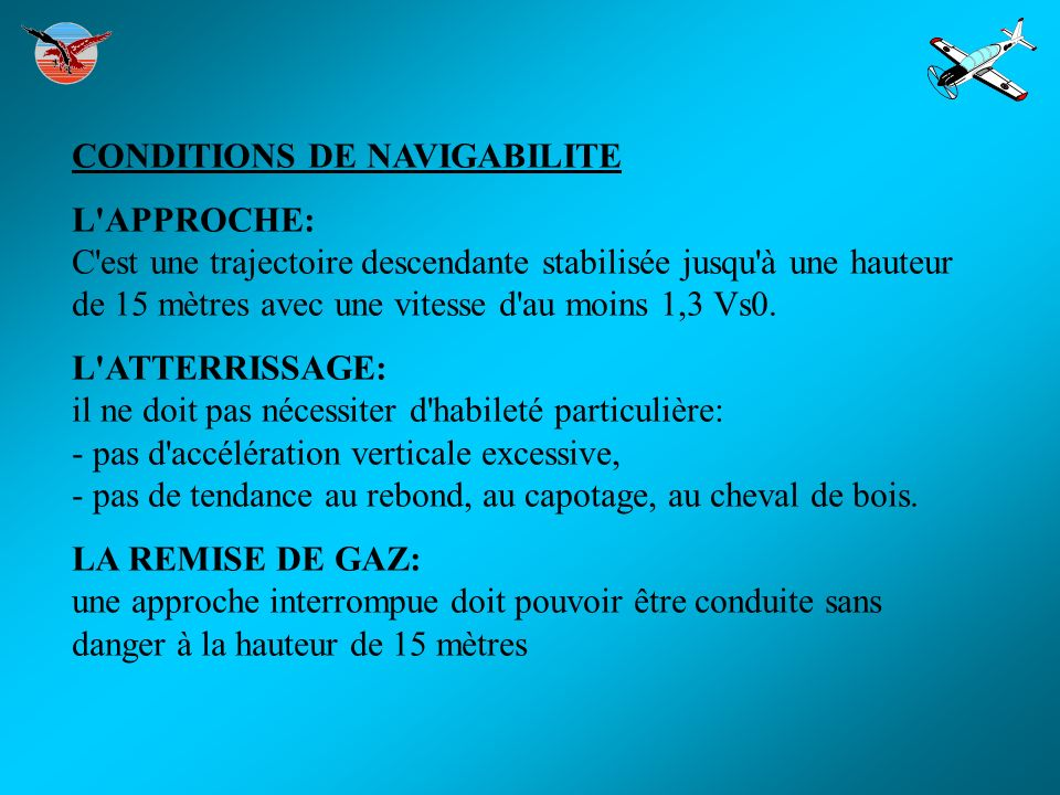 CONDITIONS DE NAVIGABILITE