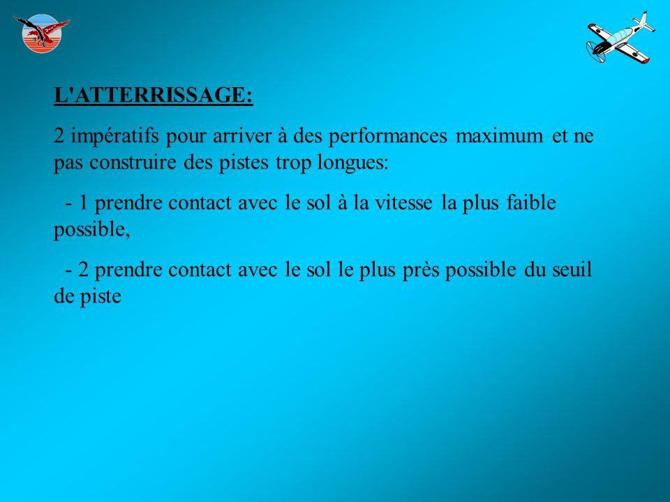 L ATTERRISSAGE: 2 impératifs pour arriver à des performances maximum et ne pas construire des pistes trop longues: