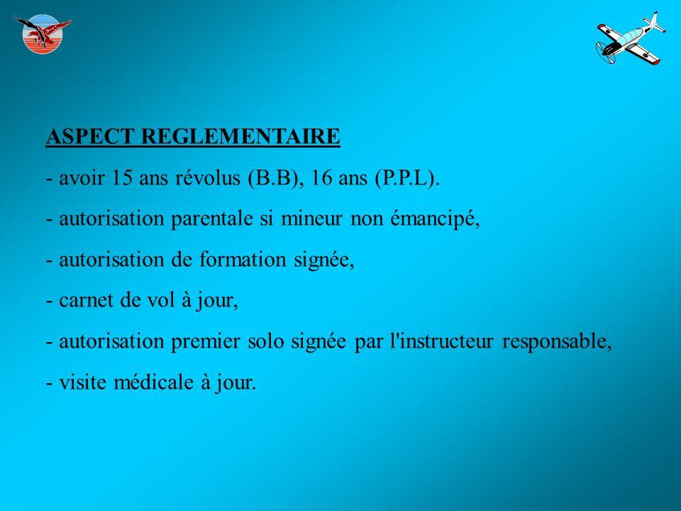 ASPECT REGLEMENTAIRE - avoir 15 ans révolus (B.B), 16 ans (P.P.L). - autorisation parentale si mineur non émancipé,