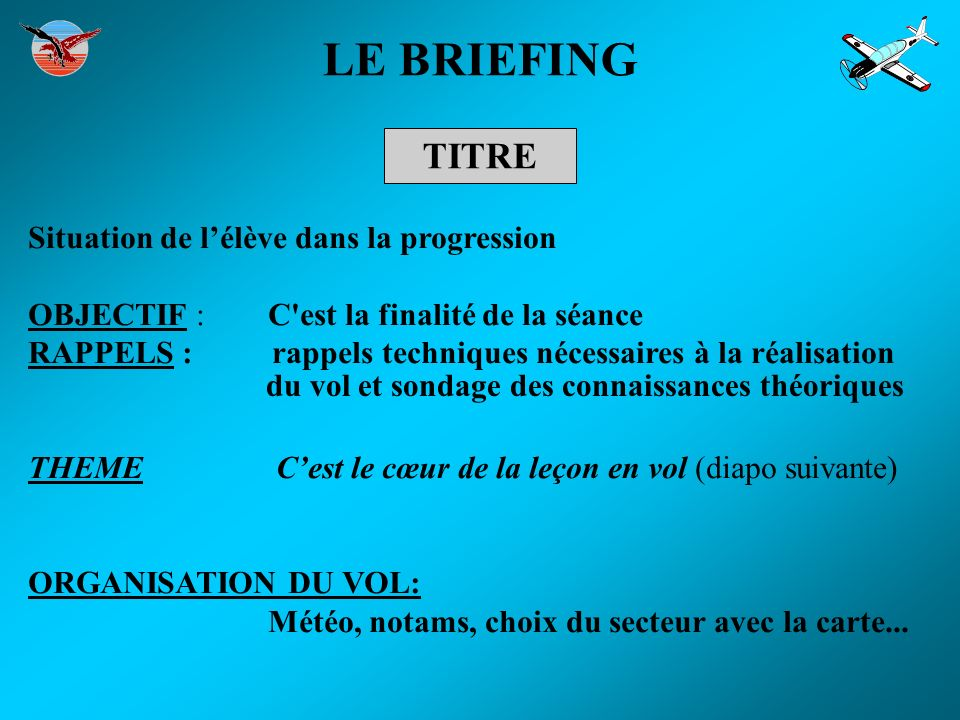 LE BRIEFING TITRE Situation de l'élève dans la progression