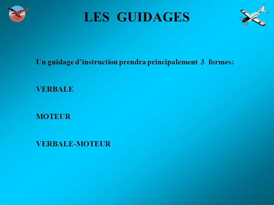LES GUIDAGES Un guidage d'instruction prendra principalement 3 formes: