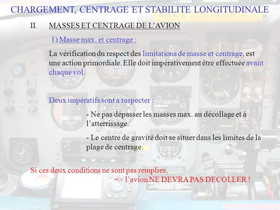 CHARGEMENT, CENTRAGE ET STABILITE LONGITUDINALE