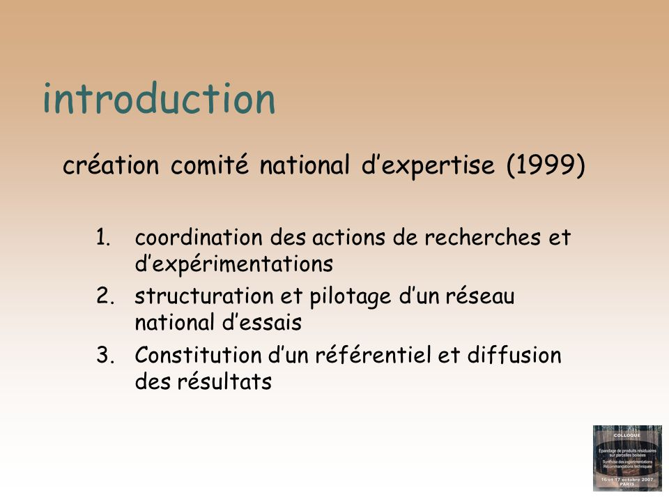 introduction création comité national d'expertise (1999)