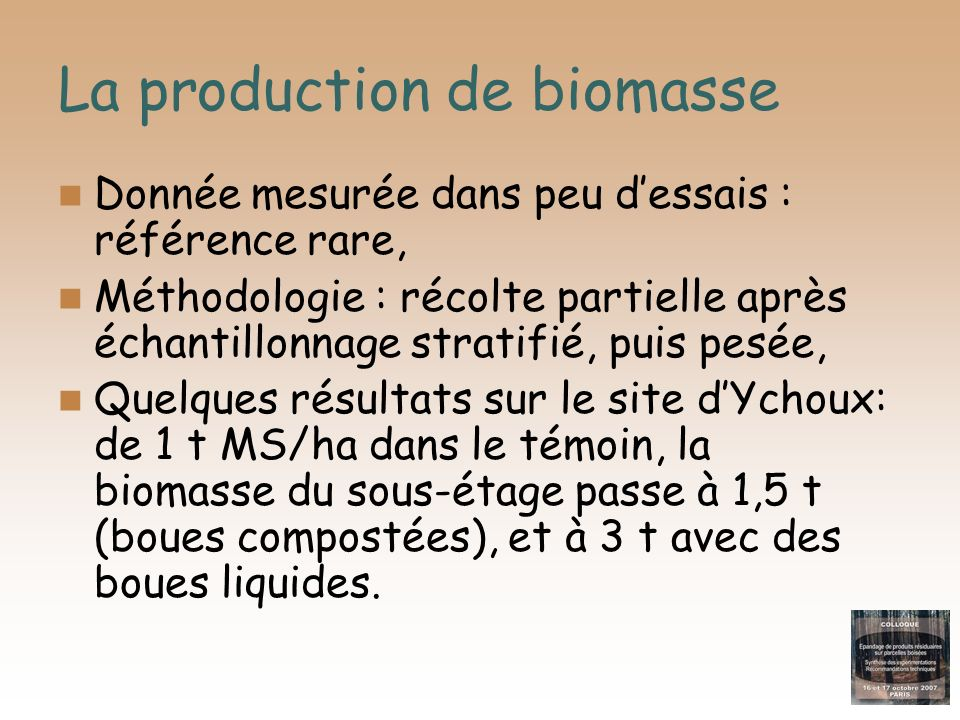 La production de biomasse