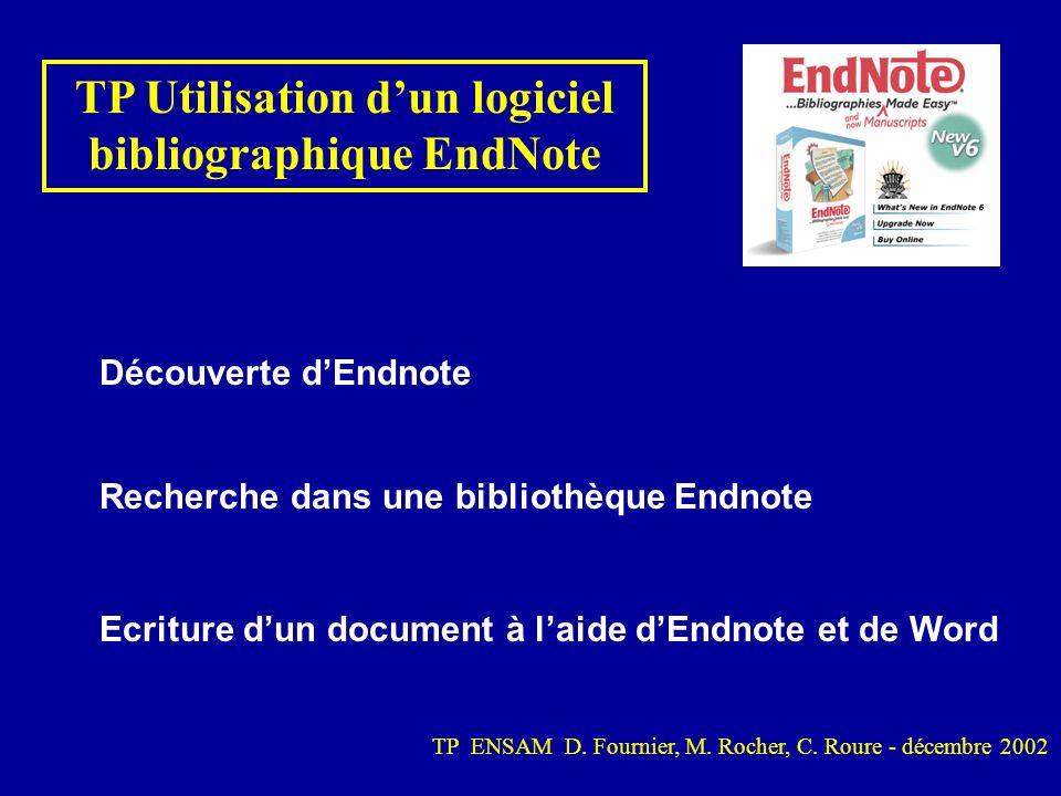 TP Utilisation d'un logiciel bibliographique EndNote