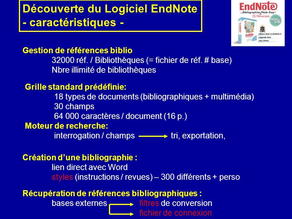 Découverte du Logiciel EndNote - caractéristiques -