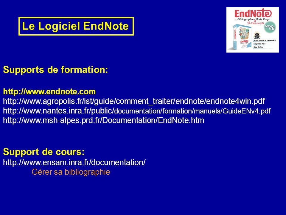 Le Logiciel EndNote Supports de formation: