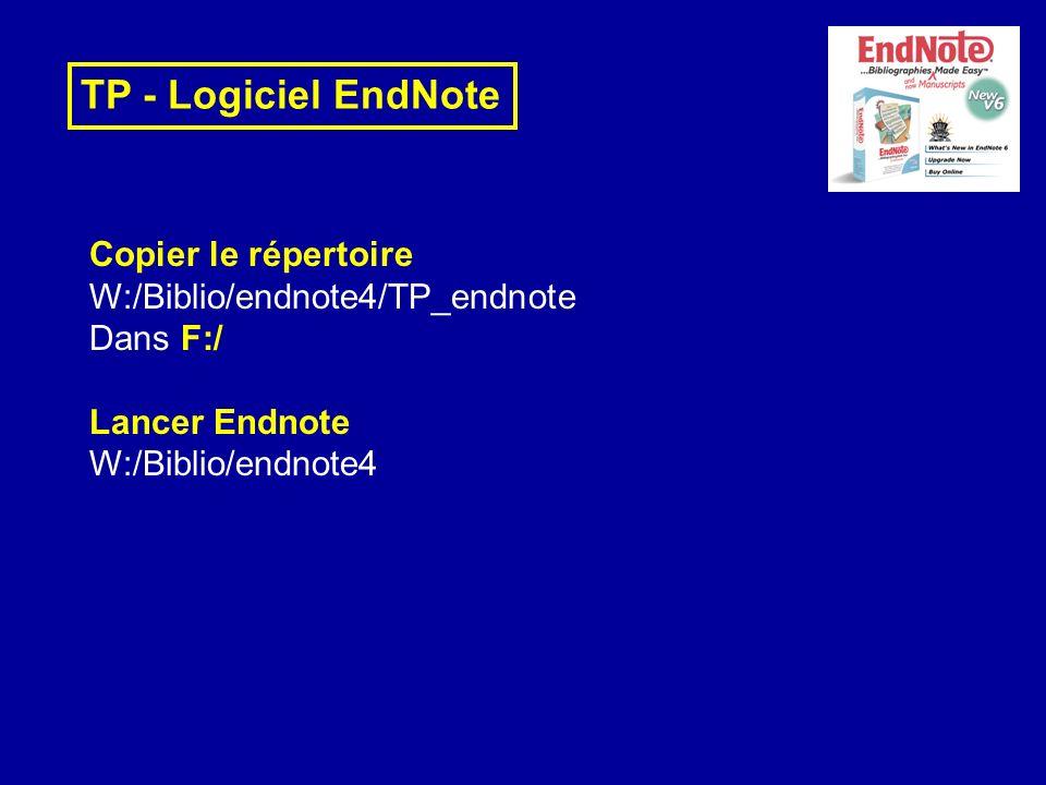 TP - Logiciel EndNote Copier le répertoire