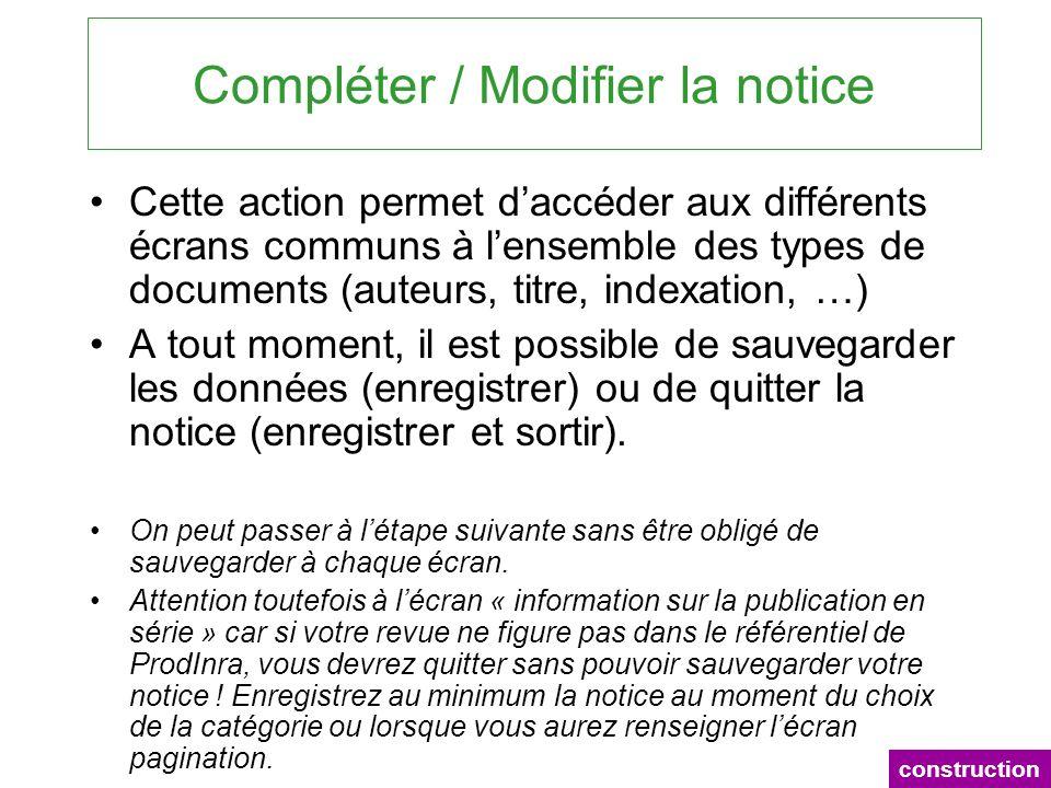 Compléter / Modifier la notice