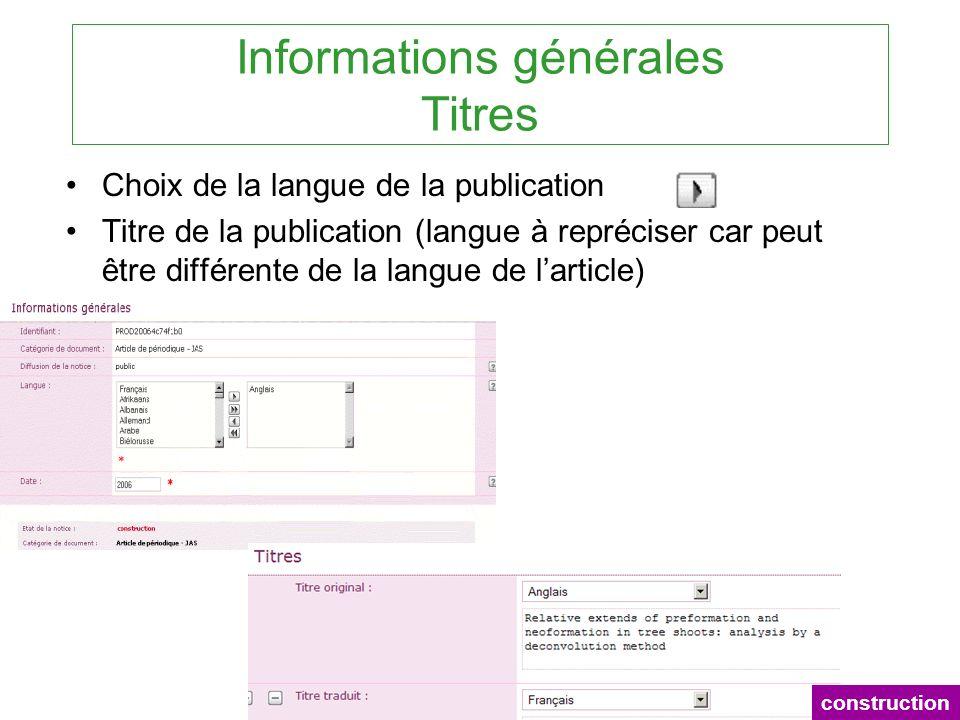 Informations générales Titres