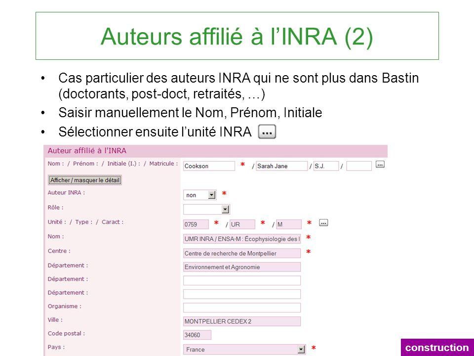 Auteurs affilié à l'INRA (2)
