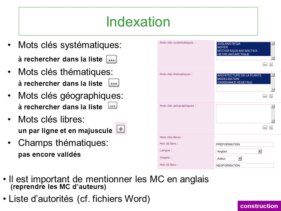 Indexation Mots clés systématiques: Mots clés thématiques: