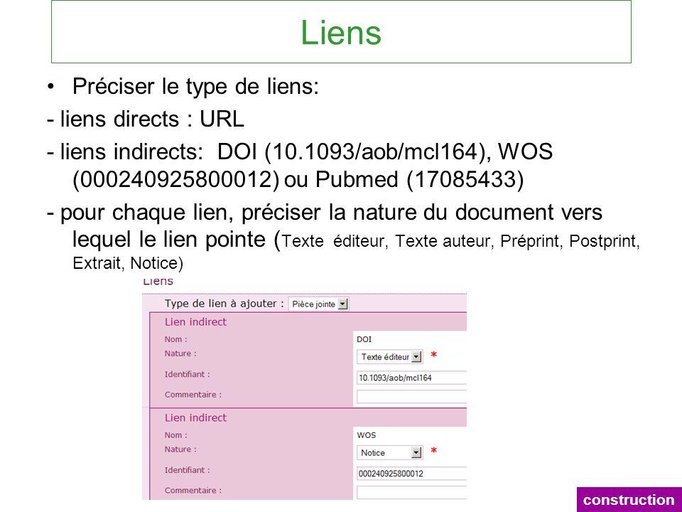 Liens Préciser le type de liens: - liens directs : URL