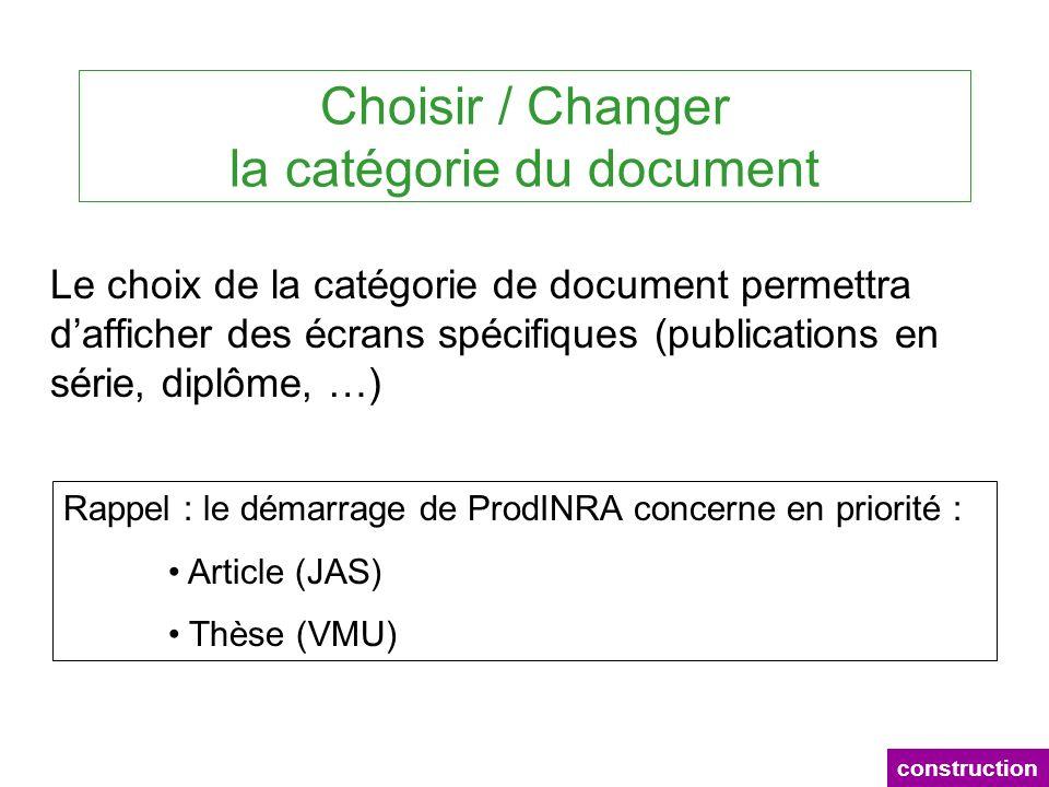 Choisir / Changer la catégorie du document