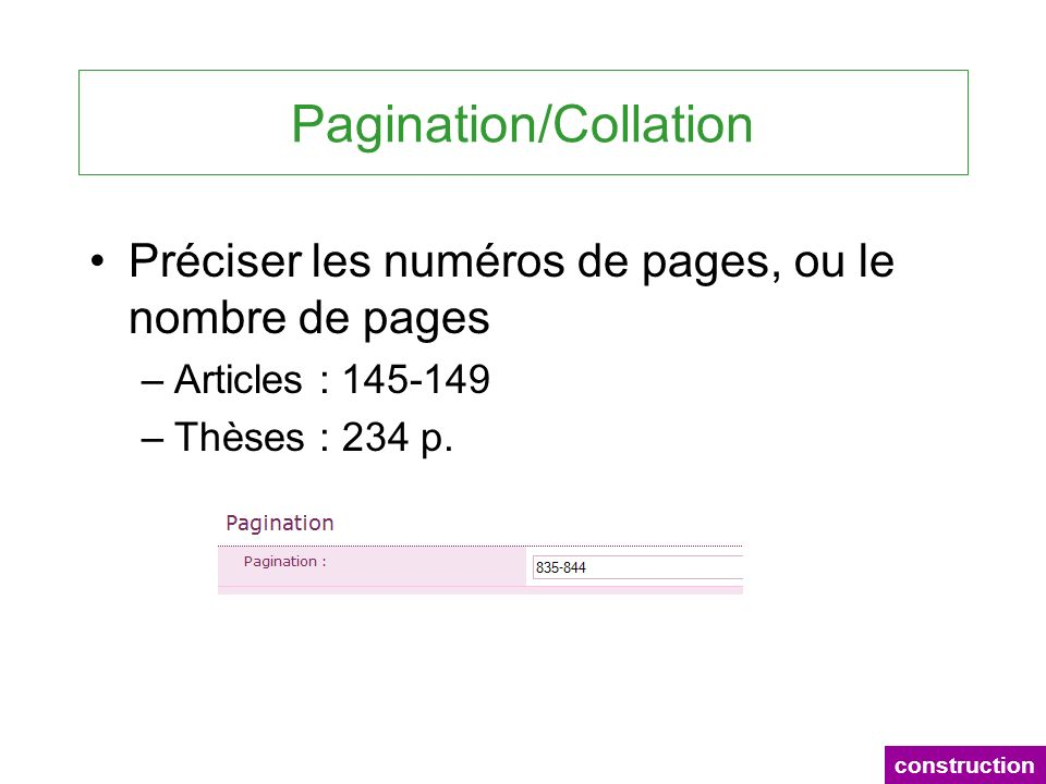 Pagination/Collation