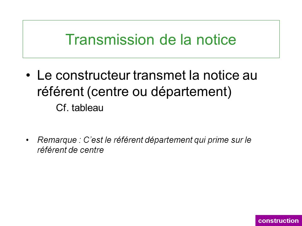 Transmission de la notice