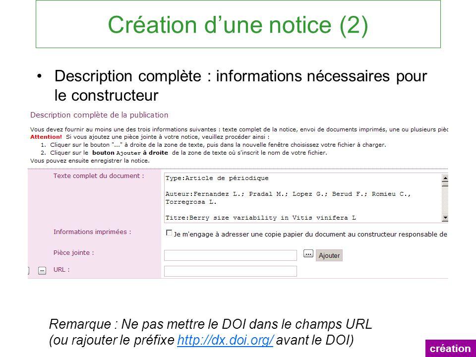 Création d'une notice (2)