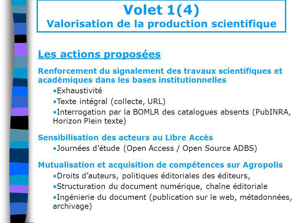 Volet 1(4) Valorisation de la production scientifique