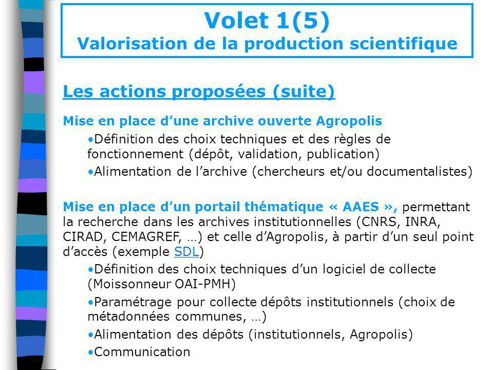 Volet 1(5) Valorisation de la production scientifique