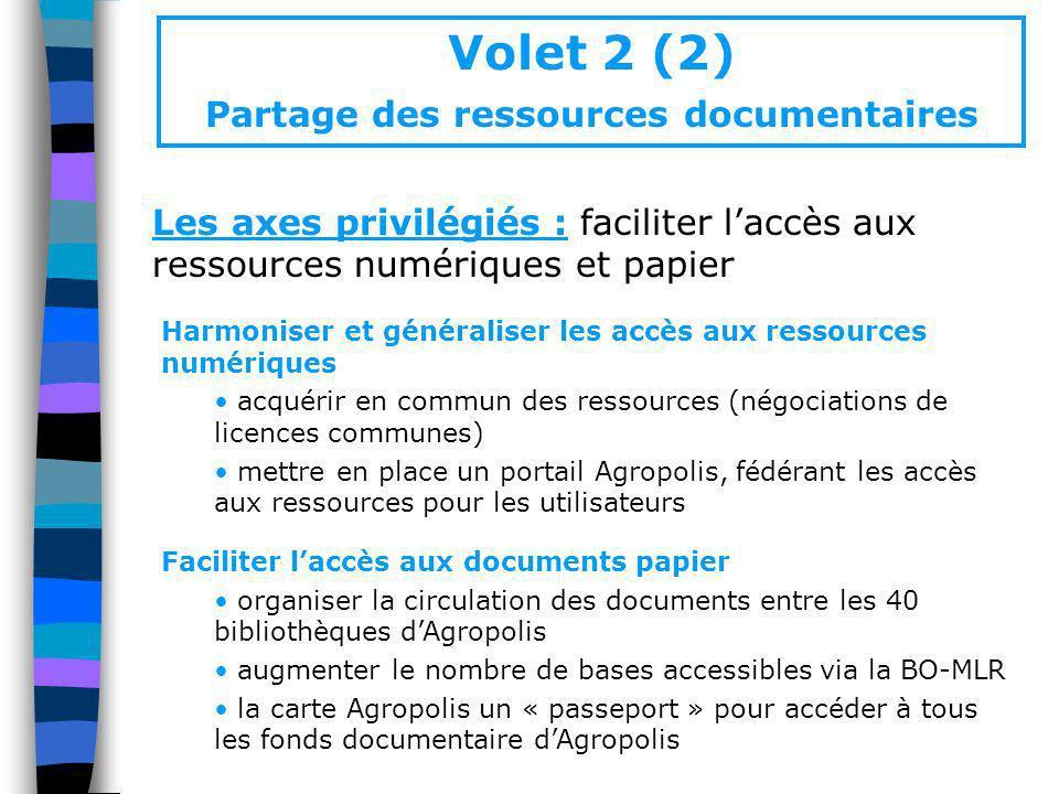 Volet 2 (2) Partage des ressources documentaires