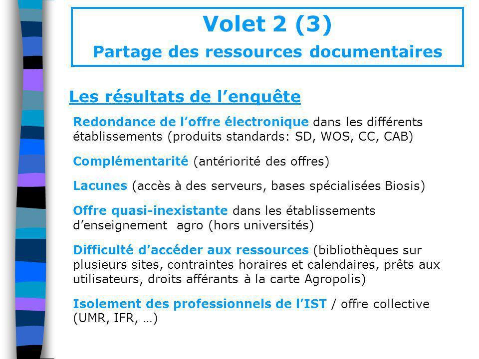Volet 2 (3) Partage des ressources documentaires