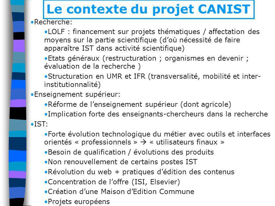 Le contexte du projet CANIST