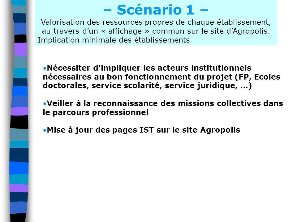 – Scénario 1 – Valorisation des ressources propres de chaque établissement, au travers d'un « affichage » commun sur le site d'Agropolis.