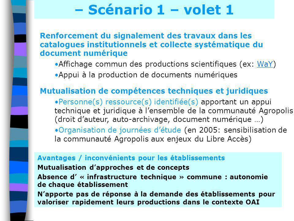 – Scénario 1 – volet 1 Renforcement du signalement des travaux dans les catalogues institutionnels et collecte systématique du document numérique.