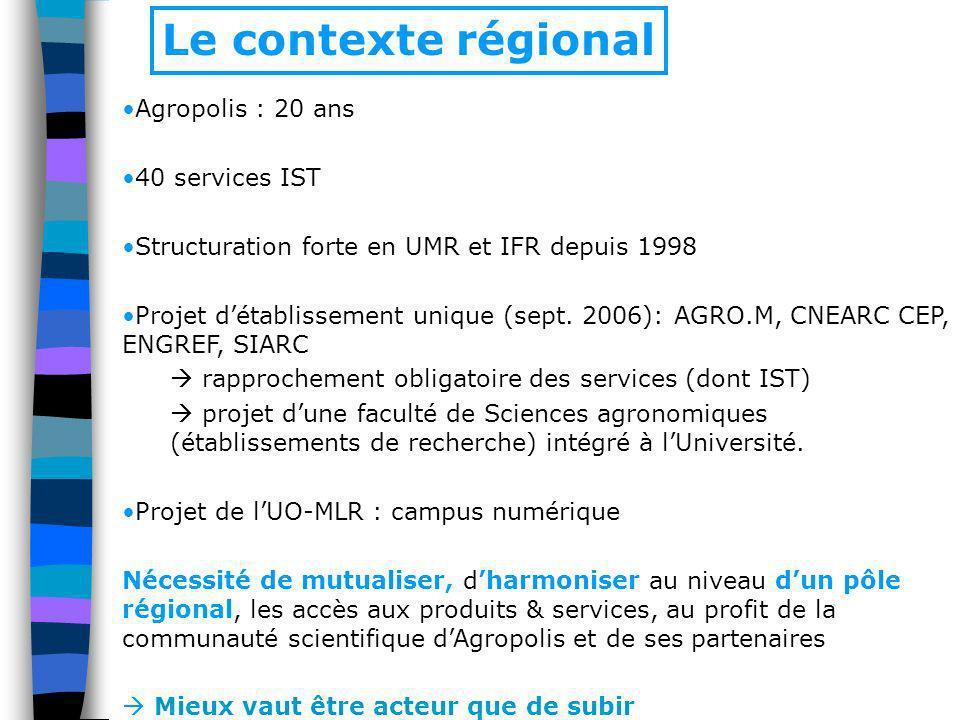Le contexte régional Agropolis : 20 ans 40 services IST