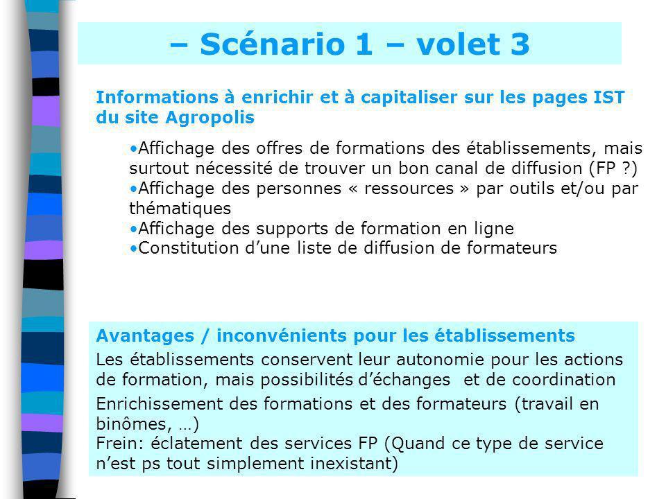 – Scénario 1 – volet 3 Informations à enrichir et à capitaliser sur les pages IST du site Agropolis.