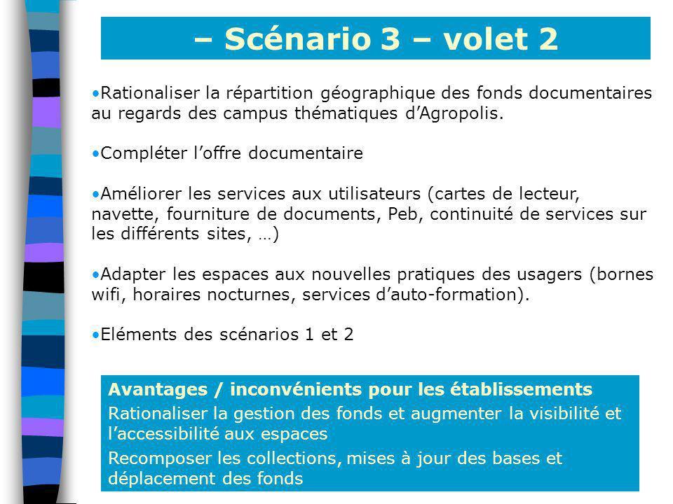 – Scénario 3 – volet 2 Rationaliser la répartition géographique des fonds documentaires au regards des campus thématiques d'Agropolis.