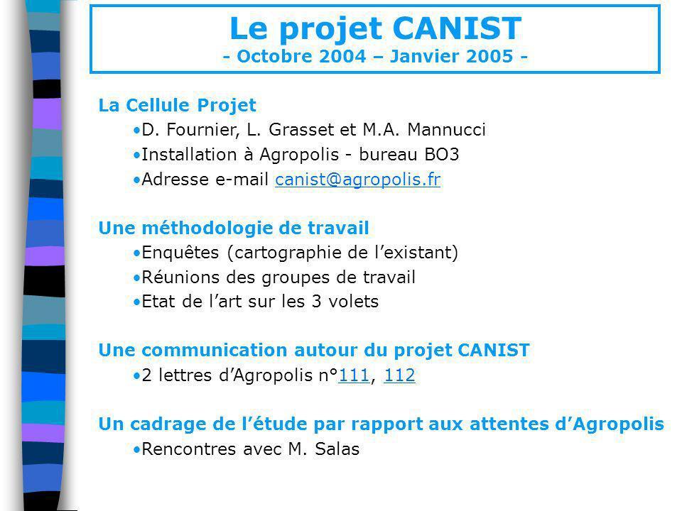 Le projet CANIST - Octobre 2004 – Janvier 2005 - La Cellule Projet
